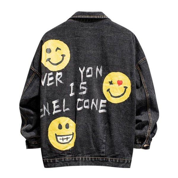 画像1: graffiti smiley face denim jacket  Blouson   デニムスマイルフェイスGジャン ジャケット ブルゾン 男女兼用 (1)