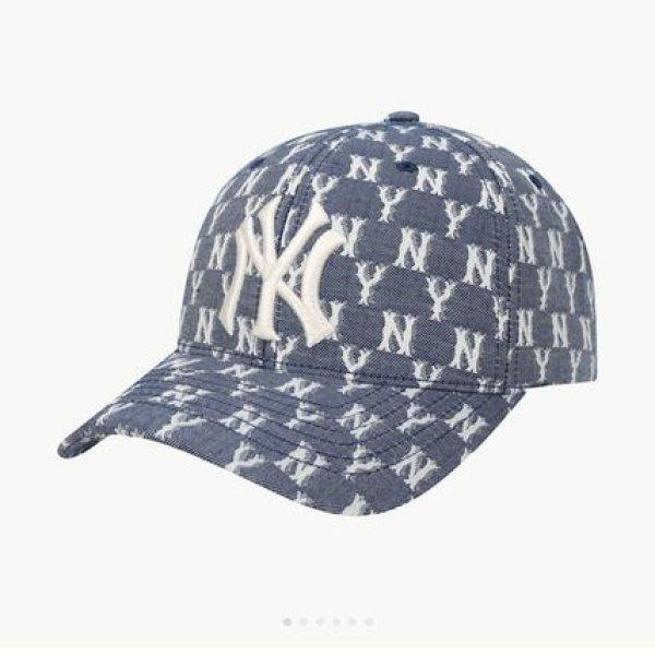 画像1: NY embroidery monogram Blue Jacquard adjustable baseball cap ユニセックス NY ニューヨークヤンキース ジャガード モノグラム ベースボールキャップ 野球帽 (1)