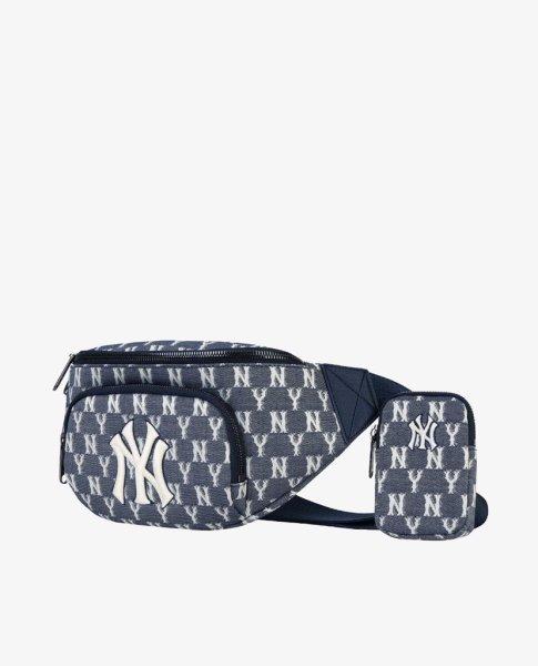 画像1: men and NY embroidery Blue Jacquard monogram Messenger bag shoulder bag bag  ユニセックス NYニューヨークヤンキース ジャガード モノグラム 斜め掛け用ショルダーバック ポシェット ウエストポーチバック (1)