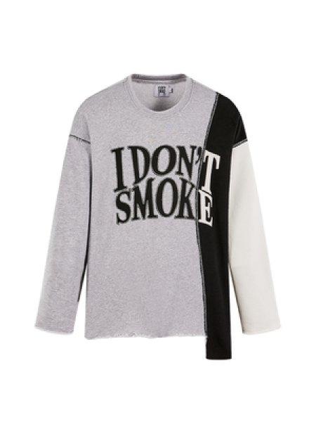 画像1: DONSMOKE I Don't Smoke Dont Smoke Print 2tone Long Sleeve Sweat Pullover Tee アイ ドント スモーク ドンスモーク ロゴプリント ロングスリーブ スウェットプルオーバー トレーナーTシャツ ユニセックス 男女兼用 (1)