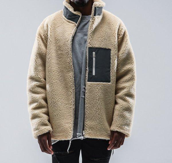 画像1:  lamb wool stand-up collar oversize loose jacket blouson Men's and Women's  オーバーサイズフリースラムウール スタンドアップジャケット ブルゾンユニセックス 男女兼用  (1)
