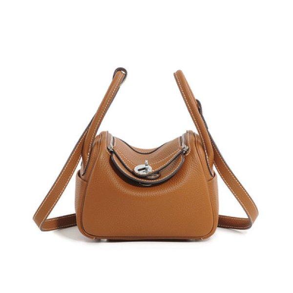画像1: Real Leather 2way Boston Bag リアルレザー 本革 ボストン ハンドル ミニ トート バッグ   (1)
