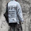 画像4:  Men's  Street Graffiti Letter Denim paint  men and women couple denim jacket coat メンズ ユニセックス 男女兼用 ストリートグラフィック ダメージデニムジャケット Gジャン コート (4)