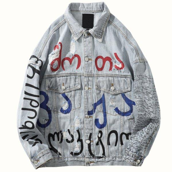 画像1:  Men's  Street Graffiti Letter Denim paint  men and women couple denim jacket coat メンズ ユニセックス 男女兼用 ストリートグラフィック ダメージデニムジャケット Gジャン コート (1)