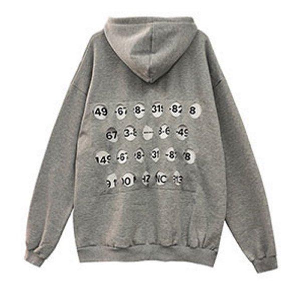 画像1:  men'sTwo Piece Back Hollow Hole loose hooded sweater ユニセックス 男女兼用 ツーピースバックホローホールナンバー フーディー パーカー スウェット トレーナー (1)
