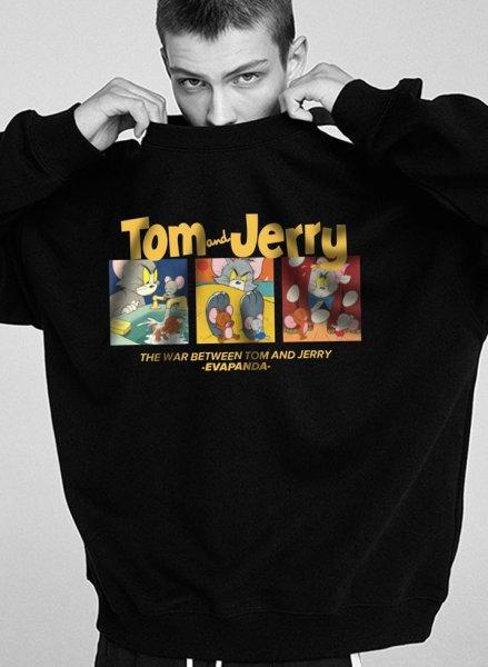 画像1: Tom and Jerry Unisex Hoodie & Pullover loose hooded sweater ユニセックス 男女兼用 トムとジェリートム&ジェリーフーディー パーカー スウェット トレーナー (1)