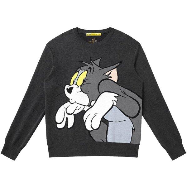 画像1: Tom and jerry Unisex Pullover loose sweater ユニセックス 男女兼用 ビックトム&ジェリー編み込みセーター プルオーバー (1)