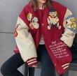 画像6:  cartoon plush embroidery jacket men and women loose baseball uniform ユニセックス 男女兼用カラーマッチング  スタジアムジャンパー スタジャン MA-1 ボンバー ジャケット ブルゾン (6)