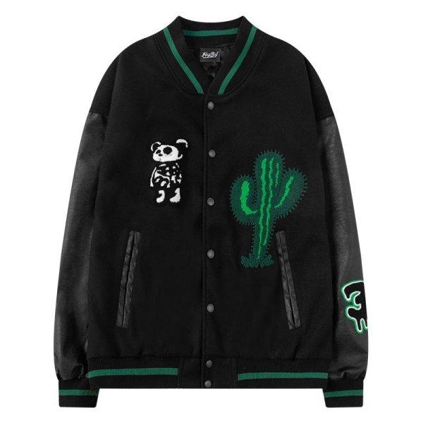 画像1: Cactus& Panda baseball uniform jacket men and women loose baseball uniform ユニセックス 男女兼用サボテン&パンダ スタジアムジャンパー スタジャン MA-1 ボンバー ジャケット ブルゾン (1)