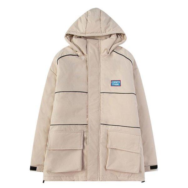 画像1:  Handsome padded jacket wind padded coat jacket ユニセックス 男女兼用バックロゴ入りポケットコートジャケット ブルゾン (1)