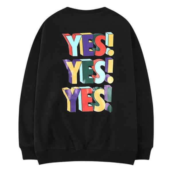 画像1: yes! print pullover Loose Pullover Sweat   yes!yes!yes!ロゴルーズトレーナー 男女兼用 ユニセックス (1)