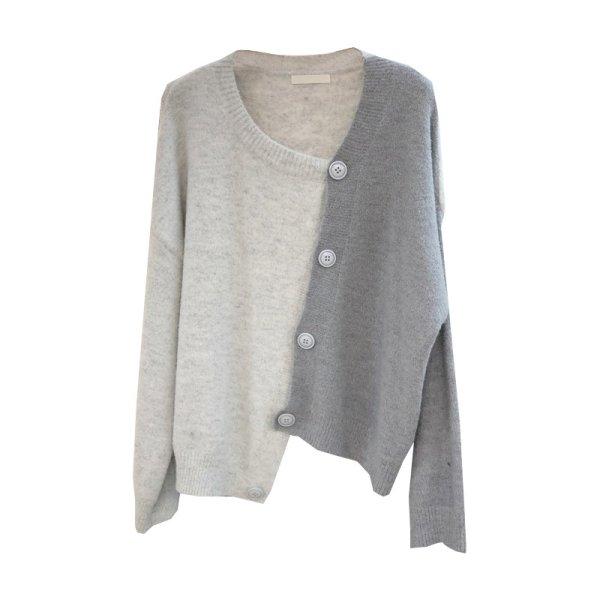 画像1: Irregular  Sweater cardigan coat western style イレギュラーバイカラーカーディガン (1)