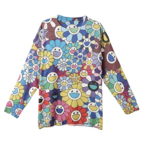 画像1: Oversized Sunflower camouflage Pullover Sweater オーバーサイズ サンフラワー セーター (1)