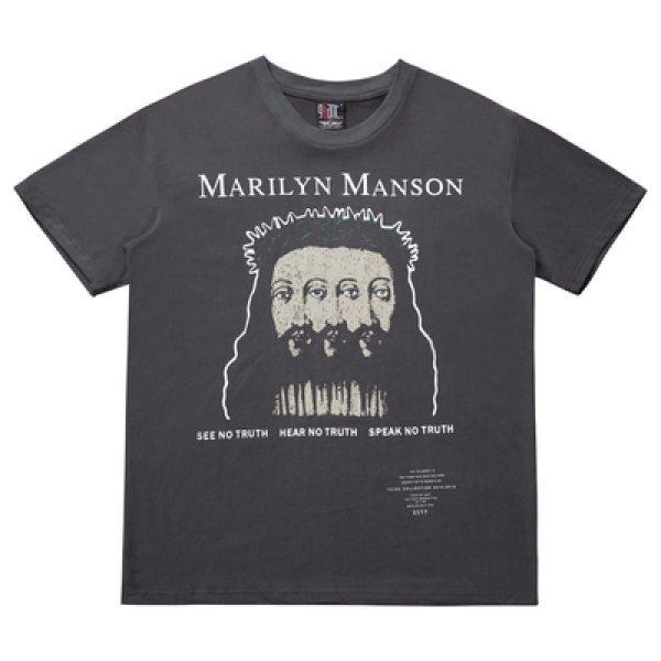 画像1: men's Marilyn Manson loose cec head tshirts ユニセックス男女兼用マリリンマンソン ヴィンテージTシャツ (1)