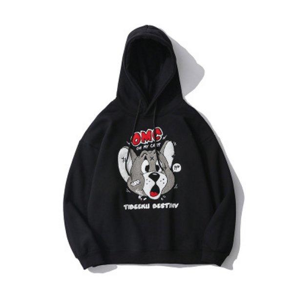 画像1: Unisex Hip hop embroidery Tom and jerry hooded sweater トム&ジェリー トムとジェリープリントスウェッフーディパーカー男女兼用 ユニセックス (1)