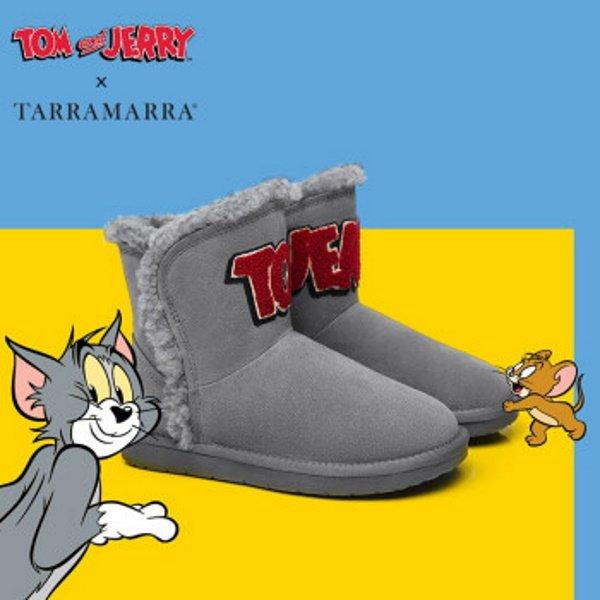 画像1: Tom and Jerry Big Logo Real Sheepskinfur Ugg Boots Tarramarra – By Ever Australia トム&ジェリー トムとジェリー ロゴ入り リアルレザーシープスキン ファーブーツ アグ (1)