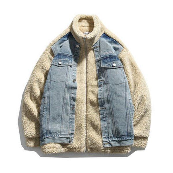画像1: Two pieces of denim stitching polar fleece jacket  ユニセックス 男女兼用デニム&フリースオーバーサイズジャケット ジャンパー  ブルゾンスタジャン (1)