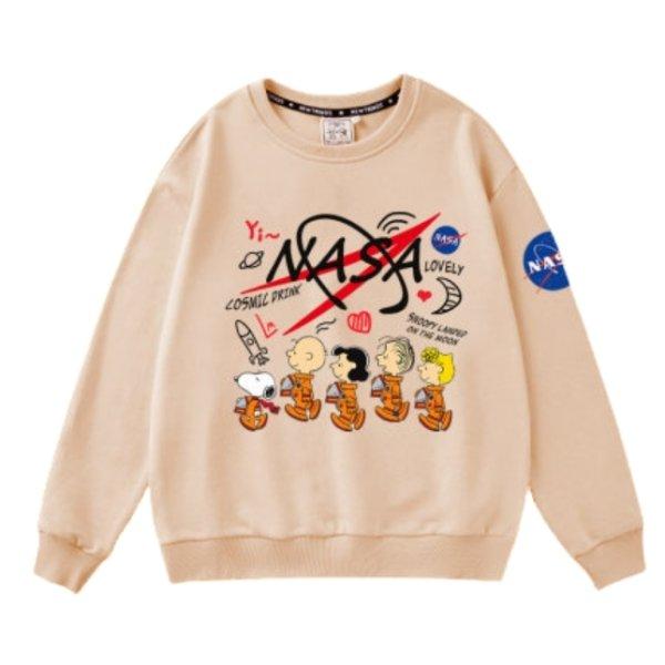 画像1: MENS NASA x Charlie Brown & Snoopy Braided Pullover Sweatshirts ナサ チャーリーブラウン&スヌーピー スウェットトレーナー パーカー 男女兼用 (1)