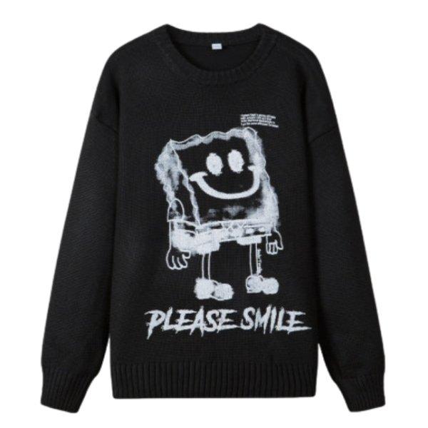 画像1: New men's and women's SpongeBob Please smile print casual crew neck sweater オーバーサイズ ユニセックス 男女兼用スポンジボブプリントカジュアルクルーネックセーター (1)