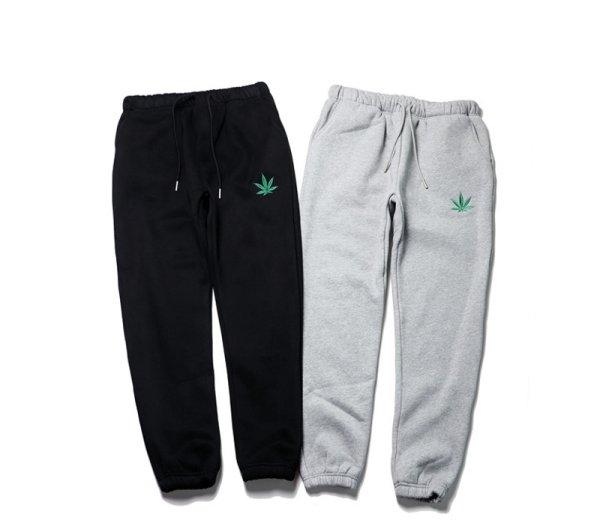画像1: Men's men and women hemp leaf sports trousers casual pants Sweat pants ユニセックスヘンプリーフ刺繍パンツ男女兼用スウェットパンツ ジョガーパンツ (1)