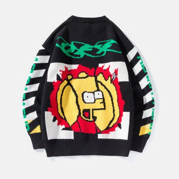 画像1: Simpson loose  knit sweater unisex  オーバーサイズ ユニセックス 男女兼用シンプソン編み込みニットセーター プルオーバー (1)