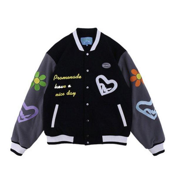 画像1:  hee love series embroidery baseball uniform jacket jacket men and women Stadium jumper  ユニセックス 男女兼用グラフィックペイント刺繍ユニフォームスタジアムジャンパー ジャケット ブルゾン スタジャン (1)