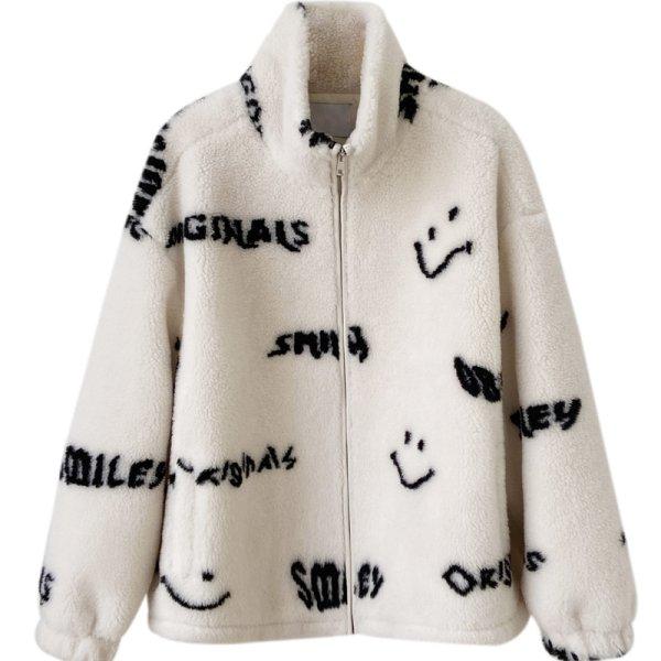 画像1: Women's  Smiley stand-up collar lamb fur coat スマイリー スマイルスタンドアップカラー シャーリングジャケット コート  (1)
