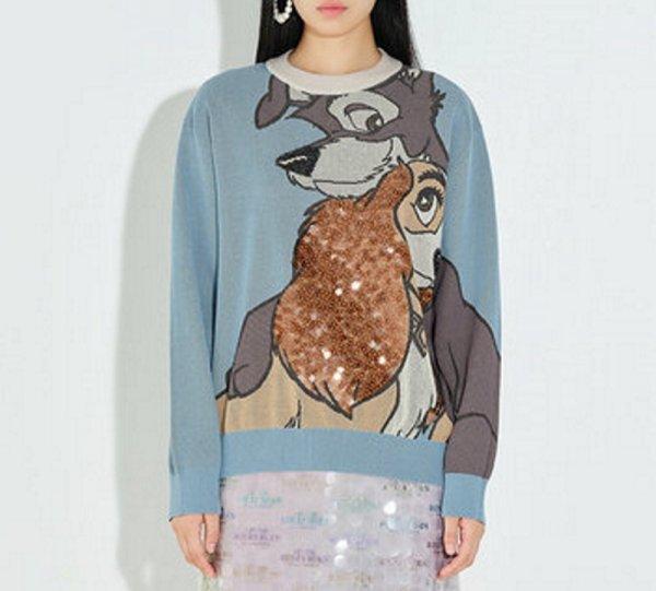 画像1: Lady and the Tramp Sequin sweater pullover   わんわん物語 Lady and the Tramp 編み込みスパンコールセーター プルオーバー (1)