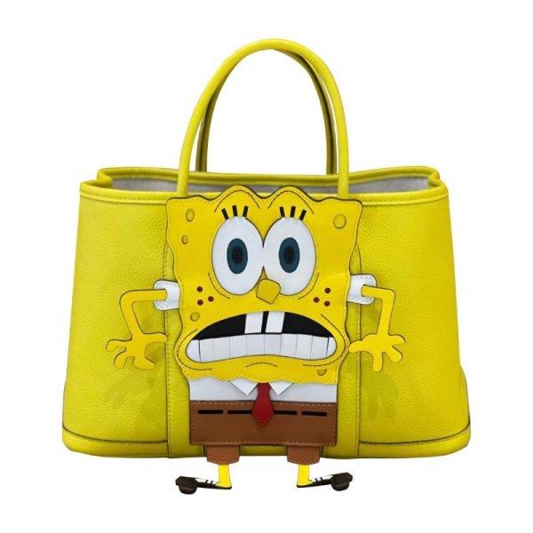 画像1: Real Leather Spongebob Tote Bag スポンジボブ リアルレザートートバッグ (1)