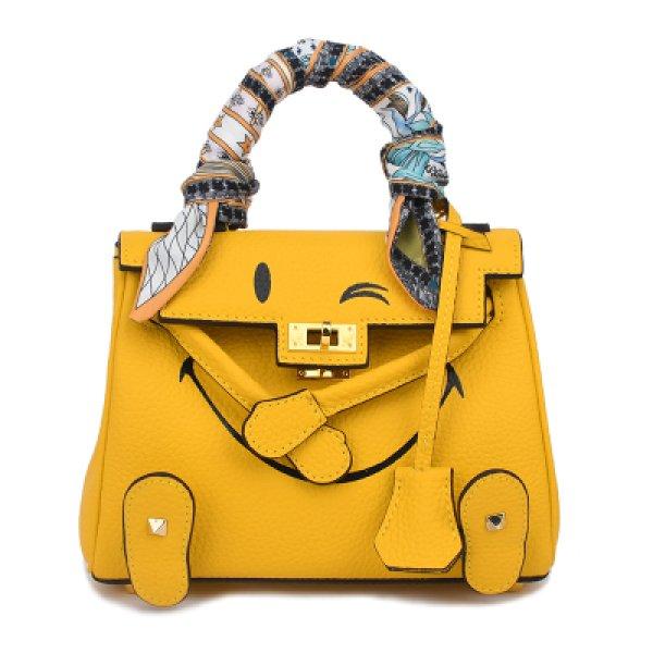 画像1: Leather Smile Tote Bag 本革 本皮 スマイル ニコちゃん レザー トートバッグ (1)