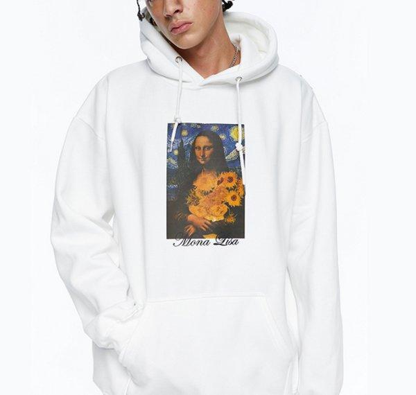画像1: Mona Lisa & Van Gogh Print  oversize Hoody pullover   モナリザ&ゴッホプリントオーバーサイズフーディーパーカー男女兼用 ユニセックス (1)