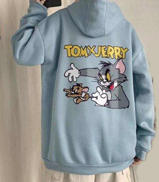 画像1:  Tom and Jerry Anime Print Hoodie Sweatshirts  トムとジェリー トム&ジェリートムバックプリント フーディーパーカー 男女兼用 ユニセックス (1)