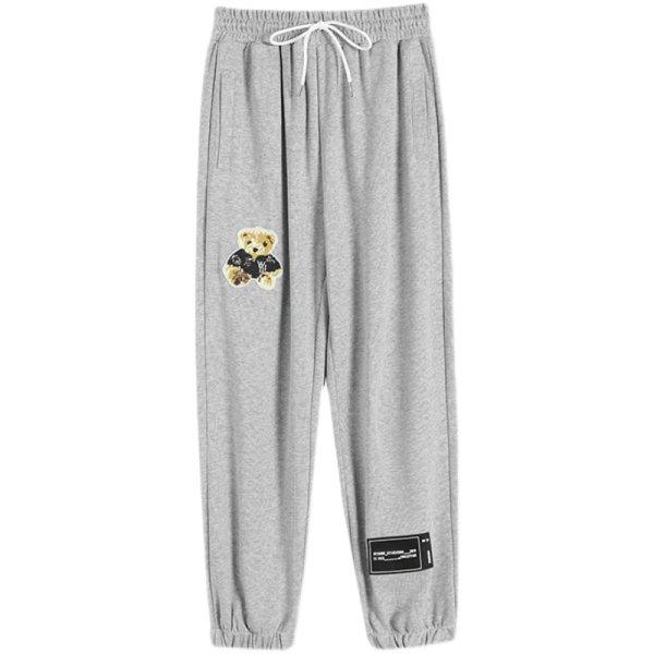 画像1: High waist Sweat casual pants   ハイウエスト熊ベアポイントスウェットパンツ (1)