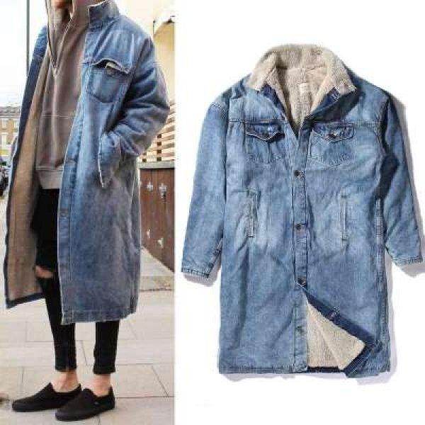 画像1: Men's Long Denim Jean Jacket Boa Coat メンズ ユニセックス 男女兼用 ロング デニム コート ジャケット 内ボア Gジャン ジーンズ (1)