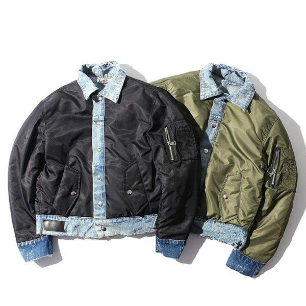 画像1: Oversized Men's MA1 Patchwork Jean Jacket paint graffiti denim jacket coat メンズ ユニセックス 男女兼用 切り替え MA1 フライト スタジャン デニムジャケット Gジャン ジーンズコート (1)