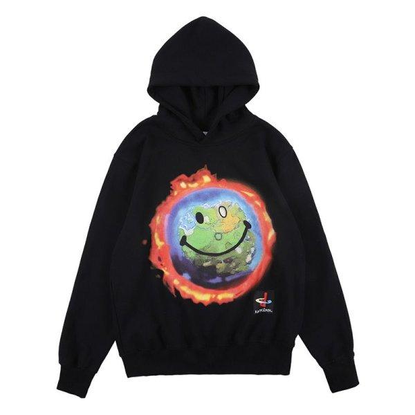 画像1: Unisex Smiley Earth Trend Loose Hoody Sweatshirts スマイリーアースフーディーパーカー 男女兼用 ユニセックス (1)