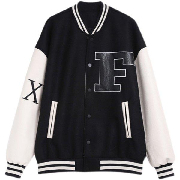 画像1: F3ML 21SS stitching PU leather baseball uniform jacket men and women ユニセックス 男女兼用レザーエンブレムスタジアムジャンバー ジャケット ブルゾン スタジャン (1)