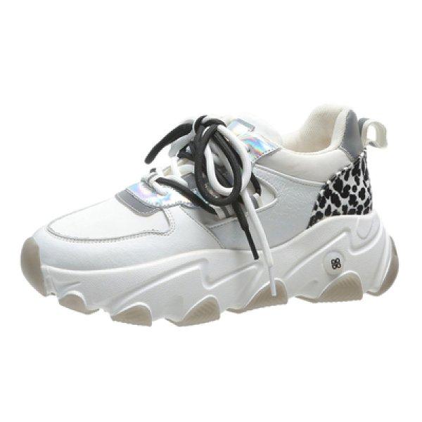 画像1: Women's  leather new retro lace-up sneakers   オールマッチレースアップスニーカー (1)