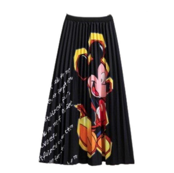 画像1: New Women's Mickey Black comic cartoon printed pleated skirt ミッキー グラフィックペイント ロング丈 膝丈プリーツスカート (1)