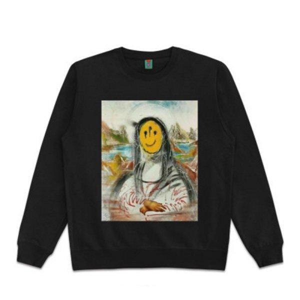 画像1: Unisex Mona Lisa &Smile oil paintinground neck sweater 男女兼用パロディーモナリザ &スマイルスウェットプルオーバー トレーナー (1)