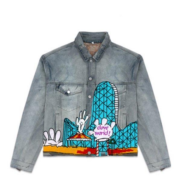 画像1: Cartoon graffiti tide city hand-painted denim jacket G Jean Jacket blouson  ユニセックス 男女兼用コミックグラフィティペイント デニムGジャケット ブルゾン (1)