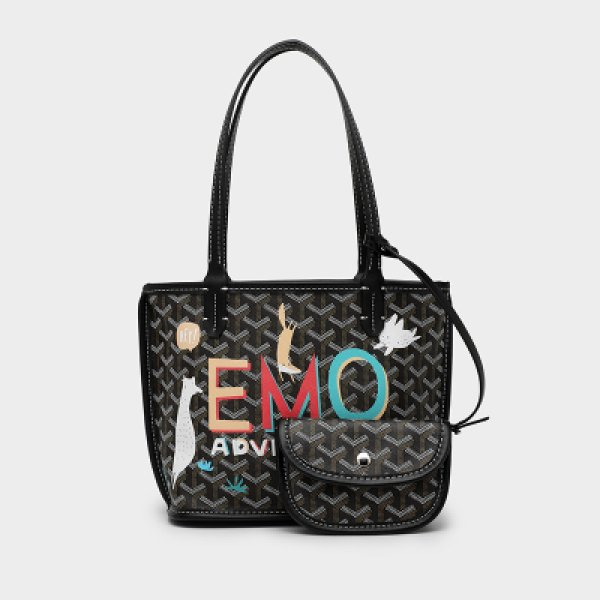 画像1: Woman's Mini graffiti paint Tote handbag cube tote bag portable bucket bag  モノグラム  グラフィック ペイント プリント トート ハンドバック  (1)