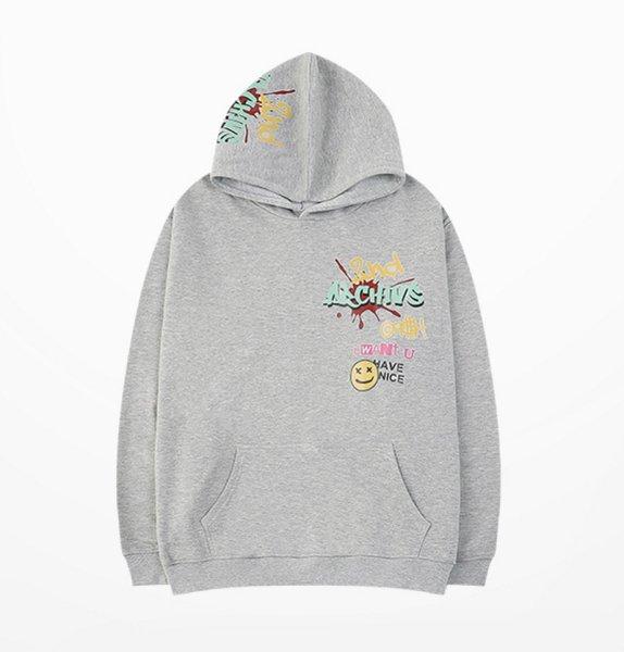 画像1: Unisex  Smile & Letter Paint sweater Hoody 男女兼用スマイル&レターペイントスウェットフーディ パーカープルオーバー  (1)