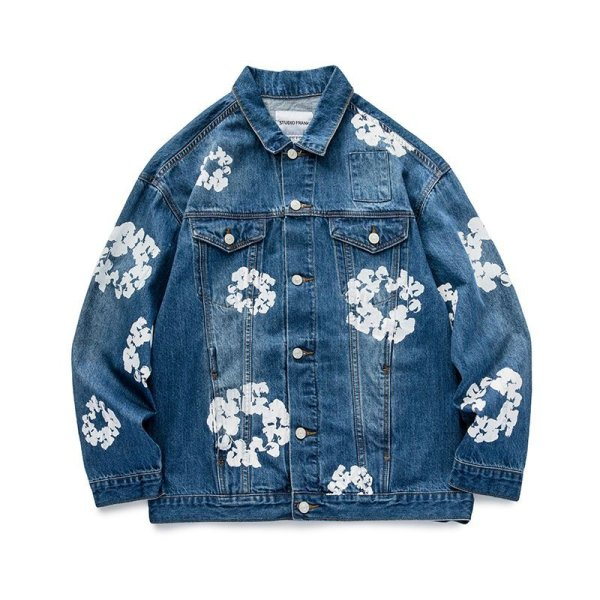 画像1: Washed Blue Printed denim jacket G Jean Jacket blouson  ユニセックス 男女兼用ウォッシュドブループリント デニムGジャケット ブルゾン (1)