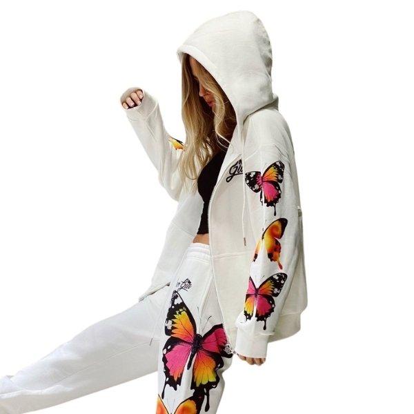 画像1: 21 APORIA PANT Butterfly printed long sleeve hooded Sweat Setup バタフライ 蝶 プリント スウェット セットアップ パーカー & パンツ (1)