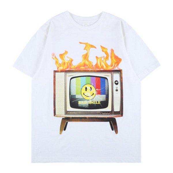 画像1: Unisex hip-hop Smile & Classic TV Print  loose cotton short-sleeved T-shirt  sweater 男女兼用 スマイル&クラッシックテレビTV プリントショートスリーブ半袖Tシャツ (1)