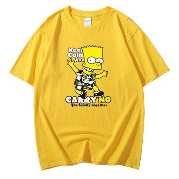 画像1: Unisex Camouflage Simpson CARRY NOPrint  cotton short-sleeved T-shirt  sweater 男女兼用 迷彩 シンプソン プリントショートスリーブ半袖Tシャツ (1)