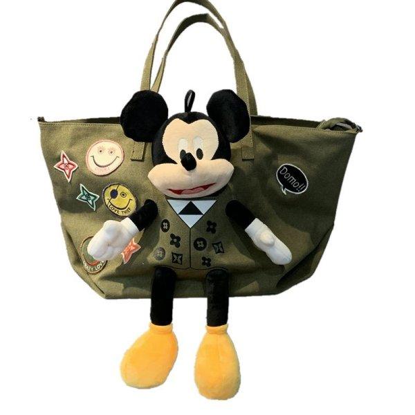 画像1: Mickey Mouse & Smile Emblem Tote Shoulder Bag   ラージサイズミッキーマウス&スマイルエンブレム付きトート ショルダーバッグ (1)