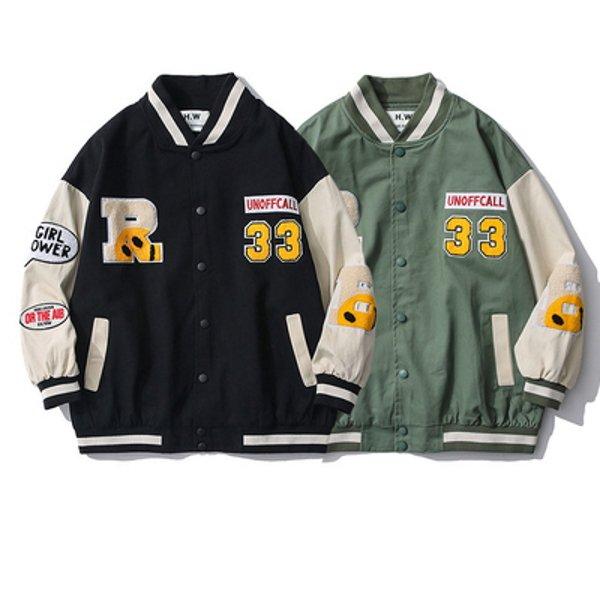 画像1: BKAR R Smile BASEBALL JACKET baseball uniform jacket blouson ユニセックス 男女兼用  スマイル スタジアムジャンパー スタジャン MA-1 ボンバー ジャケット ブルゾン (1)