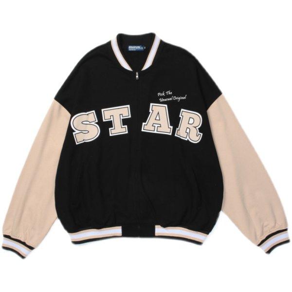 画像1: women &men  color matching loose letter STAR printing baseball uniform jacket blouson ユニセックス 男女兼用 カラーマッチング ルーズレタープリンスタジアムジャンパー スタジャン MA-1 ボンバー ジャケット ブルゾン (1)